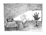 A giant rabbit poses  so that it throws the shadow of a human hand on a pr… - New Yorker Cartoon