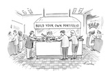 In a bank or another financial institution  people with salad tongs are ga… - New Yorker Cartoon