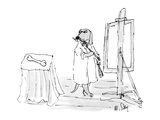 Dog in painter's frock painting a bone - New Yorker Cartoon
