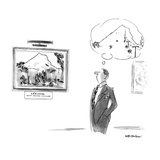 Man looking at Cezanne painting of Mont Sainte Victoire has mental image o… - New Yorker Cartoon