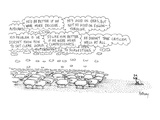 """A flock of sheep stands looking toward a dog who is evidently herding them…"""" - New Yorker Cartoon"""