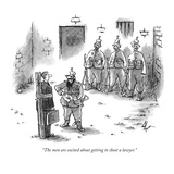 """The men are excited about getting to shoot a lawyer"" - New Yorker Cartoon"