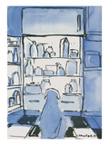 Dog in front of an open refrigerator - New Yorker Cartoon