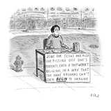 Man at street table with pamphlets  Large sign reads  'Jews for Jesus and… - New Yorker Cartoon