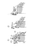 3 drawings of a dog He is hit by an orange from a market display  barks a… - New Yorker Cartoon