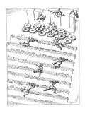 Men in tuxedos crawl under barbed wire arranged like a musical score - New Yorker Cartoon