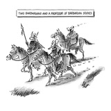 Two Barbarians and a Professor of Barbarian Studies - New Yorker Cartoon