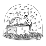 Computer geek sits inside snow globe Instead of snow  money is falling al… - New Yorker Cartoon