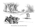 """Oh  God! Here comes little Miss Perky"" - New Yorker Cartoon"