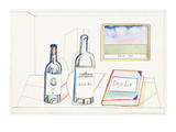 Bottles labeled  ST 78  Deja Bu  and book labeled Deja Lu  on desk with pi… - New Yorker Cartoon
