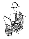 A man sits working on a laptop computer that looks like an old-fashioned b… - New Yorker Cartoon