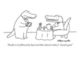 """Poodle to be followed by hysterical blue-haired widow  Sounds good"" - New Yorker Cartoon"
