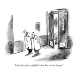 """I don't feel quite as fulfilled when I've saved a lawyer"" - New Yorker Cartoon"