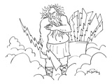Zeus injects himself with steroids before throwing lightening bolts - New Yorker Cartoon