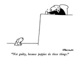 """Not guilty  because puppies do these things"" - New Yorker Cartoon"
