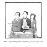 """What's wrong with that quiet little table for two in front of the Rangers…"" - New Yorker Cartoon"