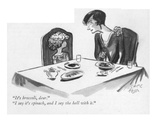 """It's broccoli  dear""--""I say it's spinach  and I say the hell with it"" - New Yorker Cartoon"