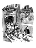 Students leaving campus of the College of Business Administration are all … - New Yorker Cartoon