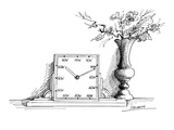 A clock has 'NOW' printed where each of the numbers should be Beside it i… - New Yorker Cartoon