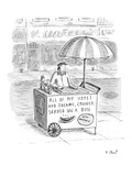 Hot dog vendor with sign on cart that reads  'All of my Hopes and Dreams  … - New Yorker Cartoon