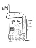 Two signs on bookstore read; 'Rare Books'and 'Rare Audio Books' - Cartoon