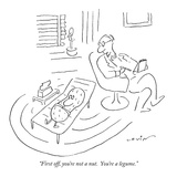 """First off  you're not a nut  You're a legume"" - New Yorker Cartoon"