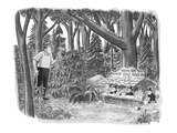 Golfer looking for his golf ball in the woods comes across gnomes running … - New Yorker Cartoon
