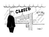 Man stands in front of a bar that is closed  with a sign that reads  'Move… - Cartoon
