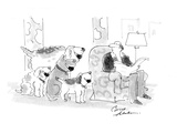 Four dogs overwhelm a relaxed man All want to play fetch - Cartoon