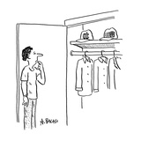 Man standing in front of closet deciding whether to wear 'Apple' or 'Micro… - Cartoon