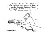 """A man thinking  """"A writer she gasped  her perky breasts heaving"""" """"God  I…"""" - New Yorker Cartoon"""