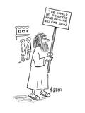 Man with sign reading; 'The World of Ten Free Hours On-Line Will End Soon' - Cartoon