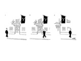 Man passing entrance to Yale Club  removes his hat as a salute - New Yorker Cartoon