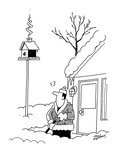 Man shoveling snow in front of his house in the dead of winter notices smo… - Cartoon