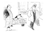 Beggar and dog on sidwalk with sign that reads: Please help me send this d… - Cartoon
