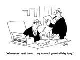 """Whenever I read them    my stomach growls all day long"" - Cartoon"