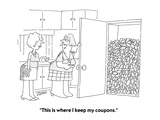 """This is where I keep my coupons"" - Cartoon"
