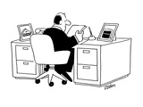 Exec at desk  Pictures of cake  pie  etc on desk - Cartoon