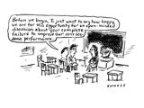 Before we begin  I just want to say how happy we are for this opportunity … - Cartoon