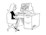 Computer screen to secretary - Cartoon