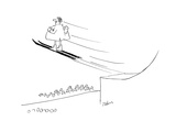 Flasher in raincoat on skis exposing himself to crowd while jumping from s… - Cartoon