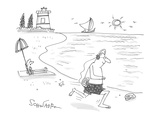 man jogs along the beach with headphones plugged in to a seashell that's a… - Cartoon