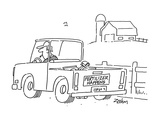 "Rural setting;  man in pick-up truck  farm in background  Bumper sticker …"" - Cartoon"