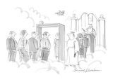 Arriving souls at the Pearly Gates have to go through a metal detector - Cartoon