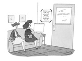two pregnant women sit in obstetrician's waiting room Sign on the wall sa… - Cartoon