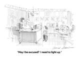 """""""May I be excused  I need to light up"""" - Cartoon"""