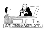 It Was Joe's Bad Luck To Get A Judge Whose Hemorrhoids Were Killing Him - Cartoon