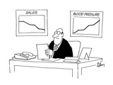Charts on wall behind gruff executive's desk; 'Sales ' going down  'Blood … - Cartoon