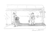 Vacationing couple enter their hotel behind a doorman whose backpack unrol… - Cartoon