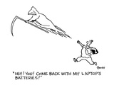 """""""Hey!  You!  Come back with my laptop's batteries!"""" - Cartoon"""